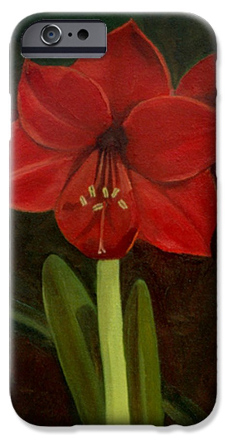 Amaryllis IPhone 6 Case featuring the painting Amaryllis by Nancy Griswold