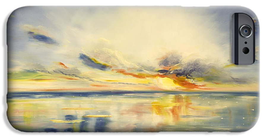 Blue IPhone 6 Case featuring the painting Blue Sunset by Gina De Gorna