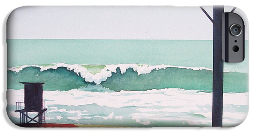 Surf IPhone 6 Case featuring the painting 14th Street Huntington Beach by Philip Fleischer
