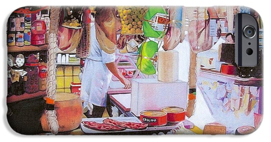 Food IPhone 6 Case featuring the mixed media Deli On The Via Condotti by Constance Drescher