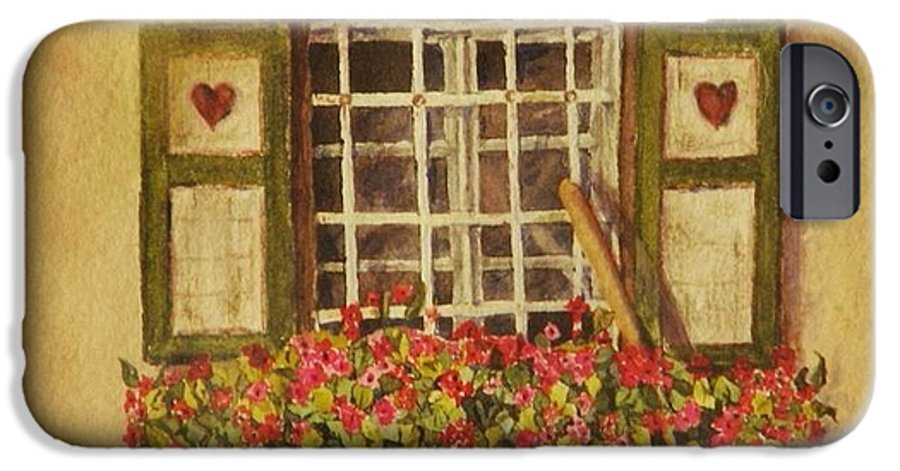 Rural IPhone 6 Case featuring the painting Farm Window by Mary Ellen Mueller Legault