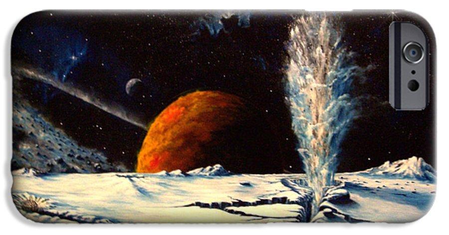 Landscape. Geyser IPhone 6 Case featuring the painting Frozen Geyser by Murphy Elliott