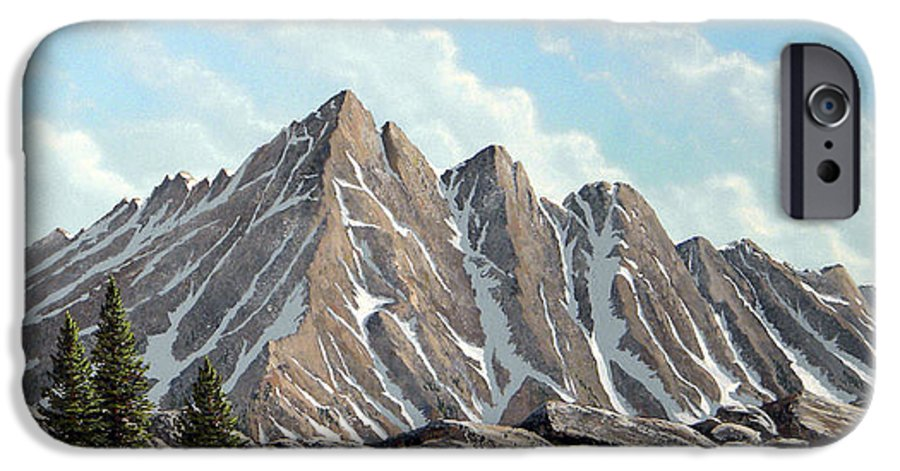 Landscape IPhone 6 Case featuring the painting Lofty Peaks by Frank Wilson