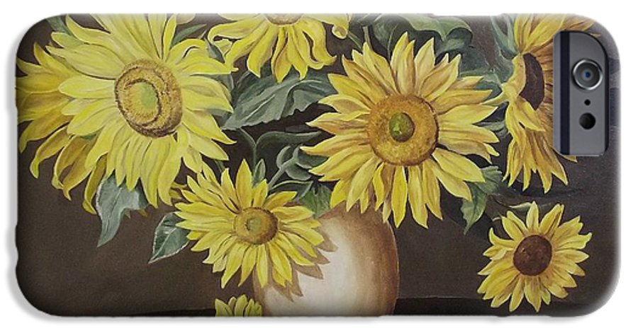 Flowers IPhone 6 Case featuring the painting Sunshine And Sunflowers by Wanda Dansereau