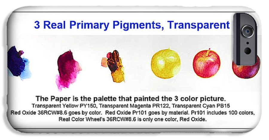 Faa IPhone 6 Case featuring the painting 3 Primary Pigments - Apple by Don Jusko