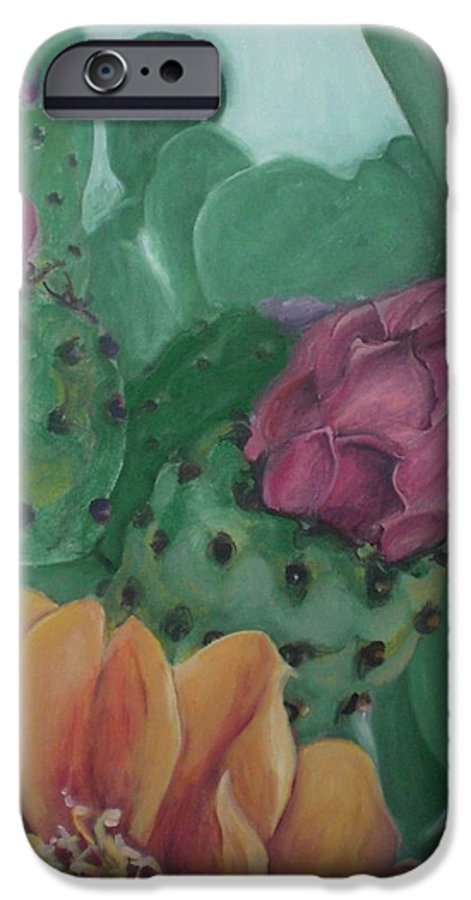 Yellow IPhone 6 Case featuring the painting Yellow Cactus Blossom by Aleksandra Buha