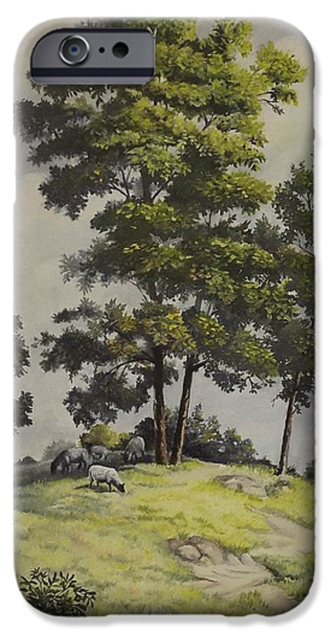 Landscape IPhone 6 Case featuring the painting A Lazy Day For Grazing by Wanda Dansereau