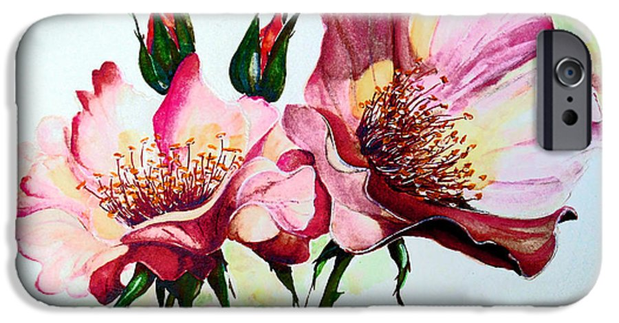 Flower Painting IPhone 6 Case featuring the painting A Rose Is A Rose by Karin Dawn Kelshall- Best