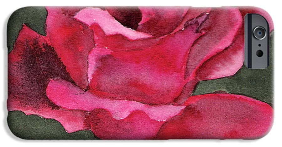 Rose Flower Red Painting Watercolor Still Life IPhone 6 Case featuring the painting A Rose Is A Rose by Marsha Woods