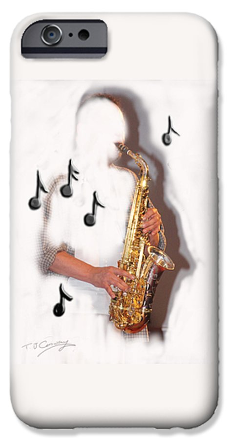 Saxophone IPhone 6 Case featuring the photograph Abstract saxophone player by Tom Conway