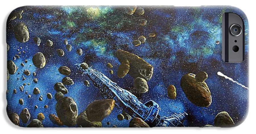 Canvas IPhone 6 Case featuring the painting Accidental Asteroid by Murphy Elliott