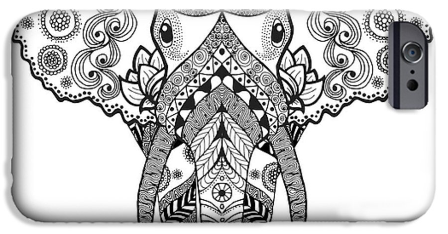Symbol IPhone 6 Case featuring the digital art Adult Antistress Coloring Page. Black by Palomita