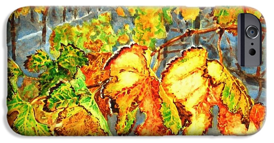 Vineyard IPhone 6 Case featuring the painting After The Harvest by Karen Ilari