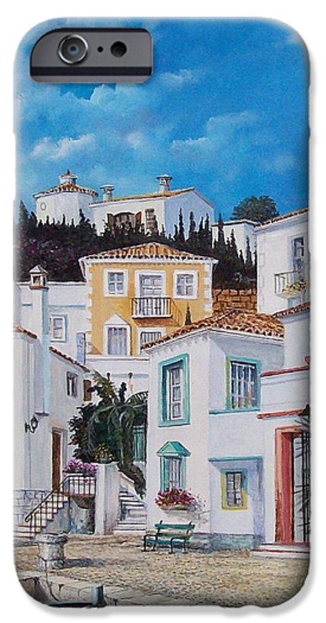 Cityscape IPhone 6 Case featuring the painting Afternoon Light In Montenegro by Sinisa Saratlic