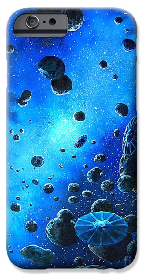 (space Ships) IPhone 6 Case featuring the painting Alien Flying Saucers by Murphy Elliott