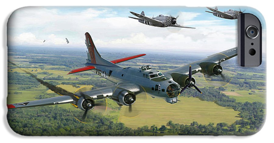 Airplane IPhone 6 Case featuring the painting Almost Home B-17 Flying Fortress by Mark Karvon