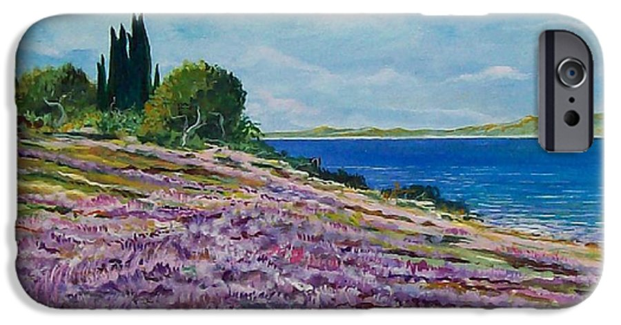 Landscape IPhone 6 Case featuring the painting Along The Shore by Sinisa Saratlic