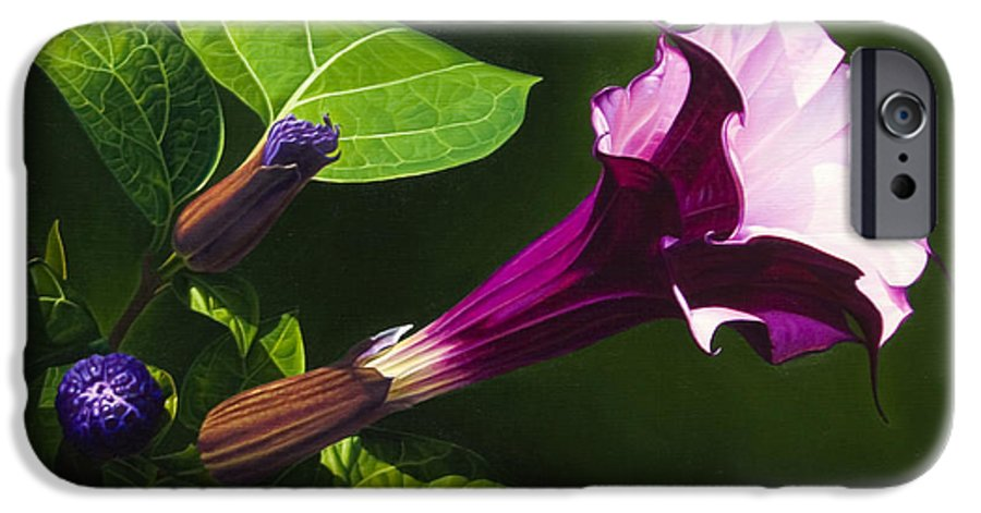 Floral IPhone 6 Case featuring the painting Anastacias Datura by Gary Hernandez