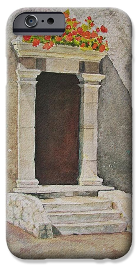 Antique Doorway IPhone 6 Case featuring the painting Ancient Doorway by Mary Ellen Mueller Legault
