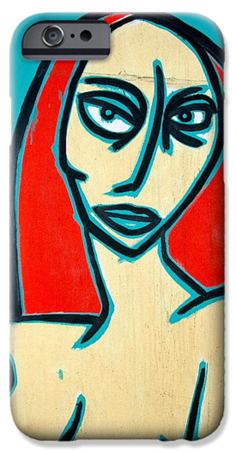 Oil IPhone 6 Case featuring the painting Angry Jen by Thomas Valentine