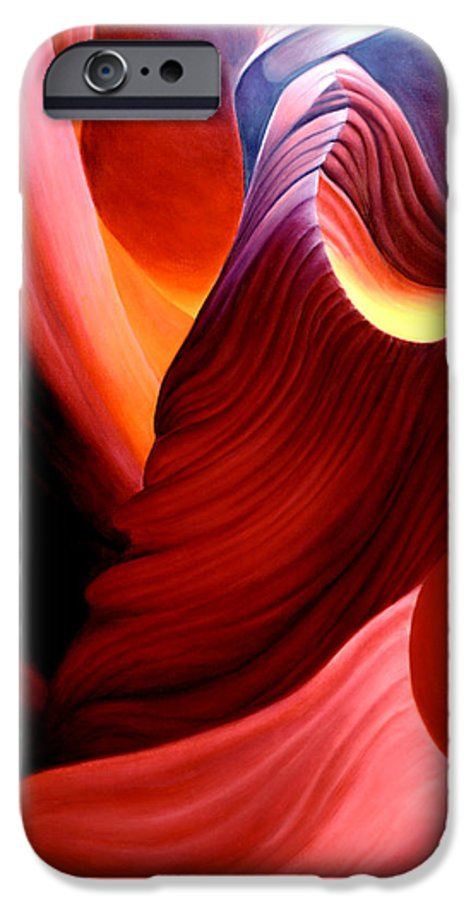 Antelope Canyon IPhone 6 Case featuring the painting Antelope Magic by Anni Adkins
