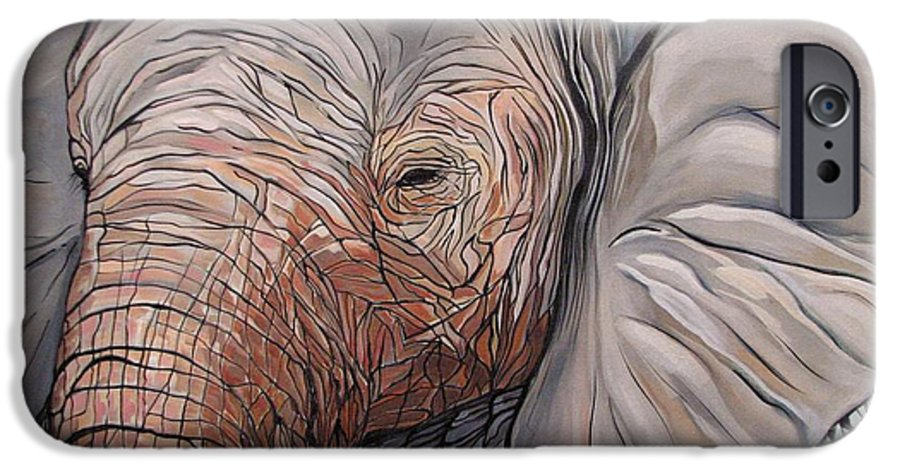 Elephant Bull Painting IPhone 6 Case featuring the painting Are You There by Aimee Vance
