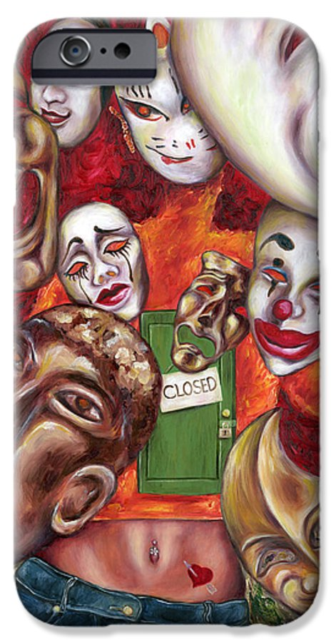 Mask IPhone 6 Case featuring the painting Artist by Hiroko Sakai