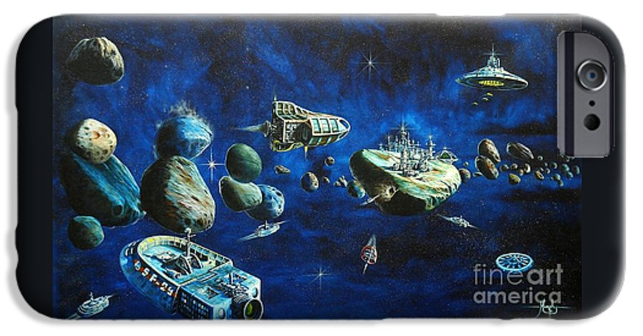 Fantasy IPhone 6 Case featuring the painting Asteroid City by Murphy Elliott