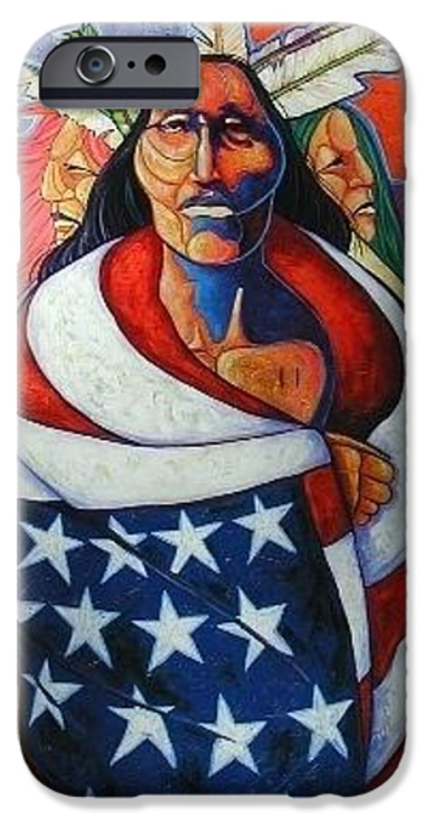 American Indian IPhone 6 Case featuring the painting At The Crossroads by Joe Triano