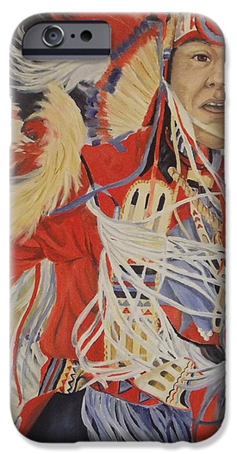 Indian IPhone 6 Case featuring the painting At The Powwow by Wanda Dansereau