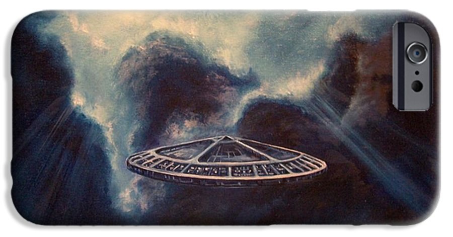 Si-fi IPhone 6 Case featuring the painting Atmospheric Arrival by Murphy Elliott