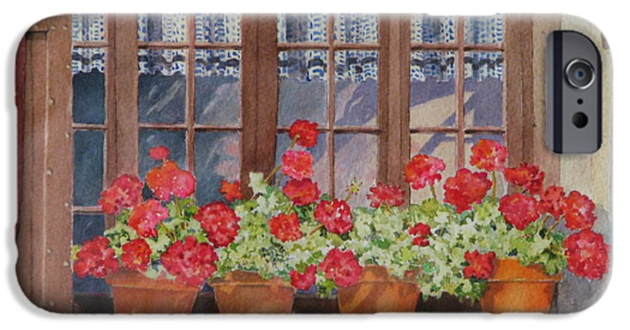 Watercolor IPhone 6 Case featuring the painting August At The Auberge by Mary Ellen Mueller Legault
