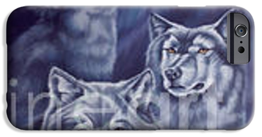 Wolf IPhone 6 Case featuring the painting Aurora Wolves by Wendy Froshay