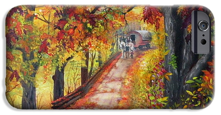 Scenery IPhone 6 Case featuring the painting Autumn Dreams by Lora Duguay