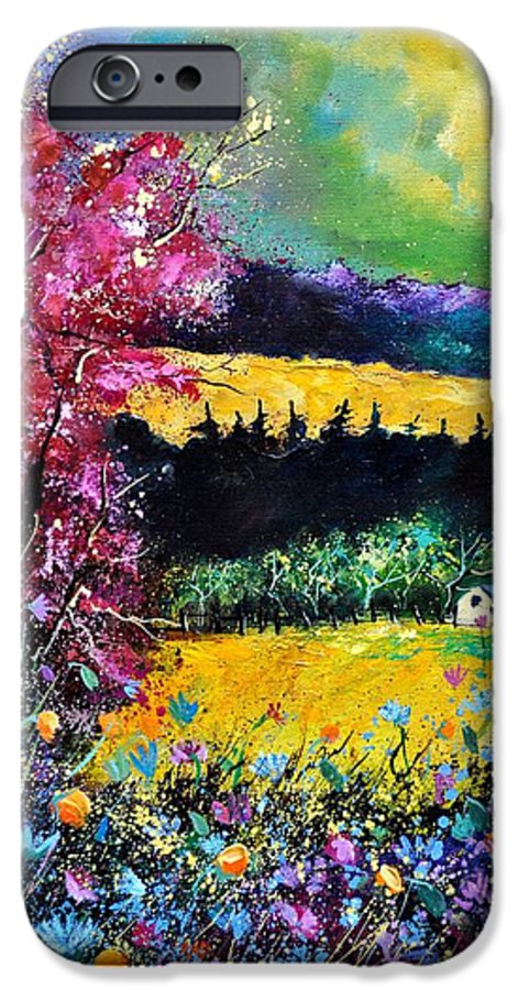 Landscape IPhone 6 Case featuring the painting Autumn Flowers by Pol Ledent