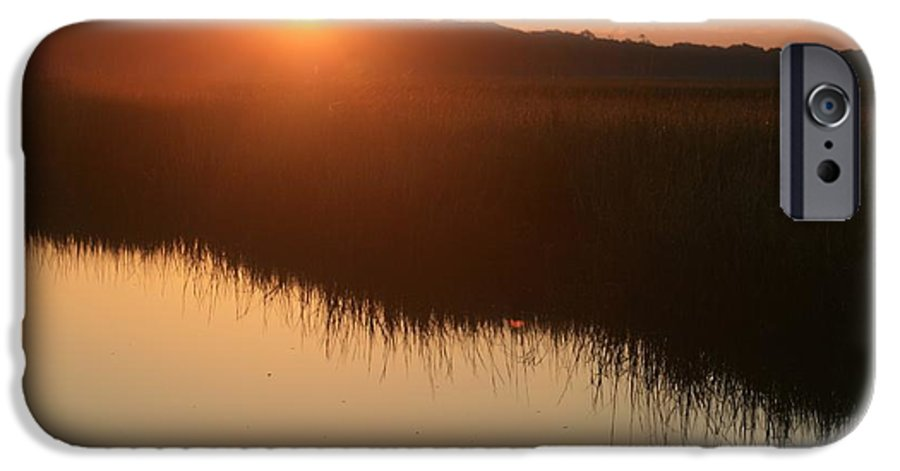 Sunrise IPhone 6 Case featuring the photograph Autumn Sunrise Over The Marsh by Nadine Rippelmeyer