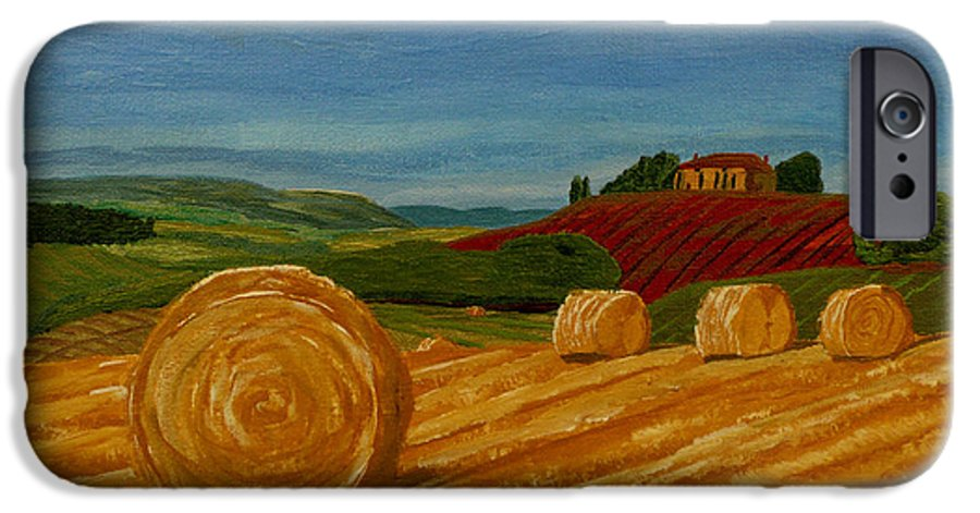 Hay IPhone 6 Case featuring the painting Field Of Golden Hay by Anthony Dunphy