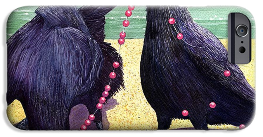 Raven IPhone 6 Case featuring the painting Baubles by Catherine G McElroy