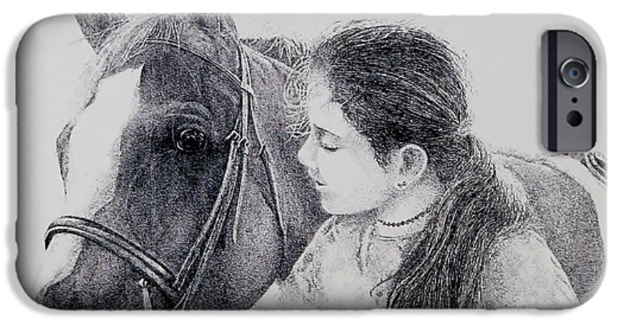 Pets Horses Horseback Riding Children IPhone 6 Case featuring the painting Best Friends by Tony Ruggiero