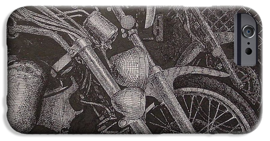 Motorcycles IPhone 6 Case featuring the drawing Bikes by Denis Gloudeman