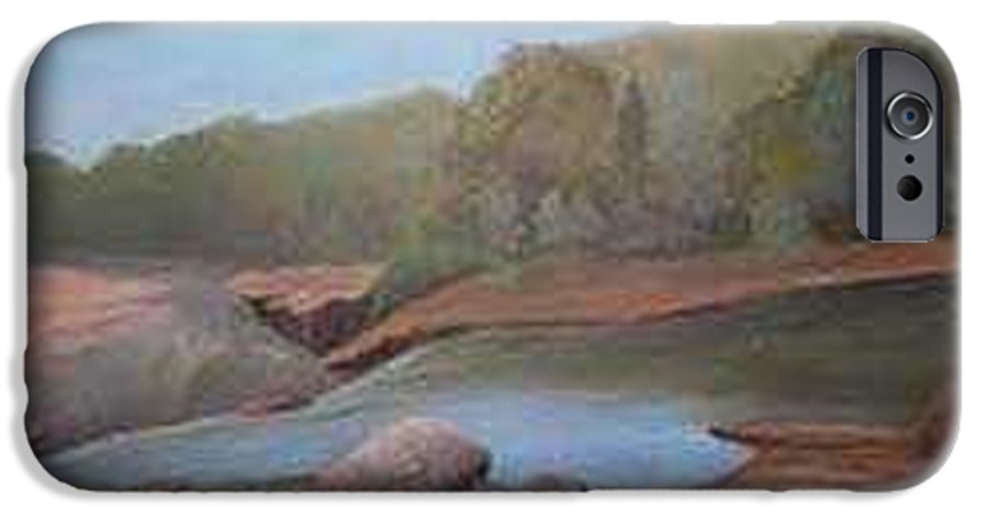 Rick Huotari IPhone 6 Case featuring the painting Black River Falls by Rick Huotari
