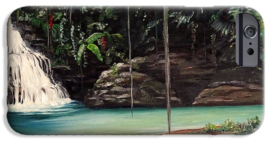 Tropical Waterfall IPhone 6 Case featuring the painting Blue Basin by Karin Dawn Kelshall- Best