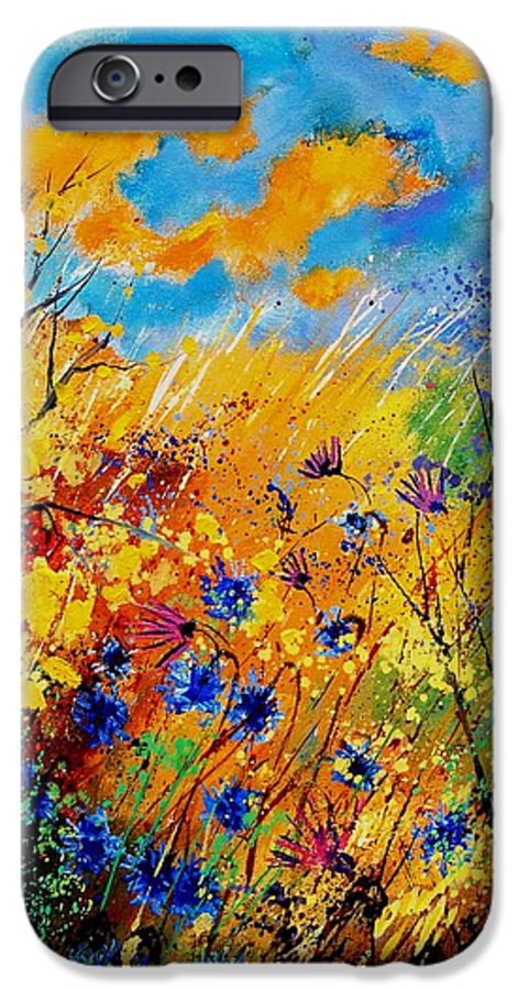 Poppies IPhone 6 Case featuring the painting Blue Cornflowers 450408 by Pol Ledent