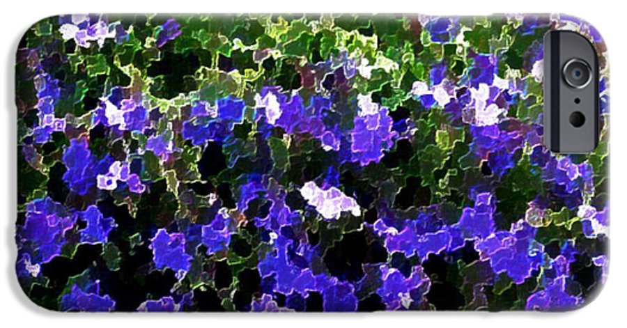 Blue.flowers.green Leaves.happiness.rest.pleasure.mosaic IPhone 6 Case featuring the digital art Blue Flowers On Sun by Dr Loifer Vladimir