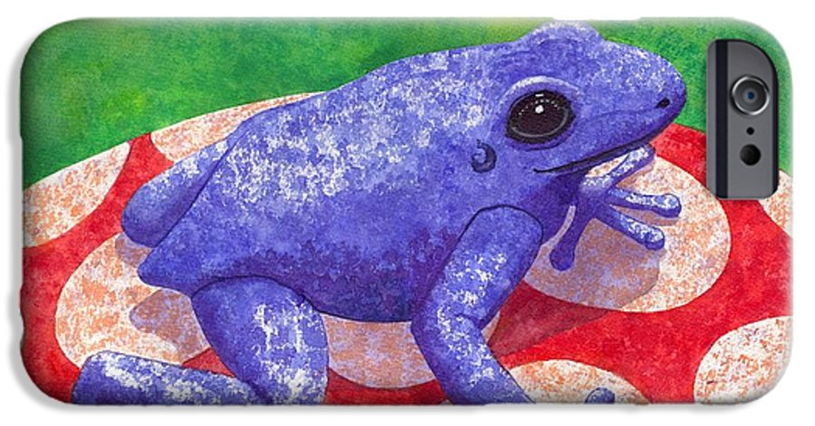 Frog IPhone 6 Case featuring the painting Blue Frog by Catherine G McElroy