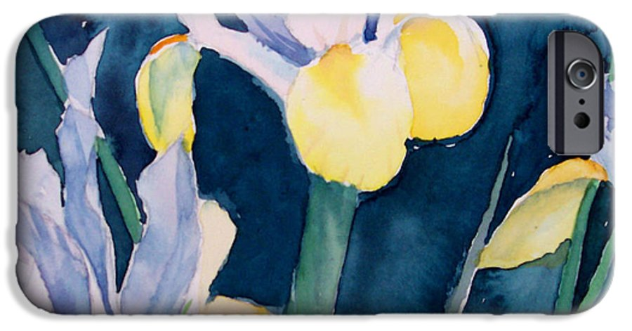 Flowers IPhone 6 Case featuring the painting Blue Iris by Philip Fleischer