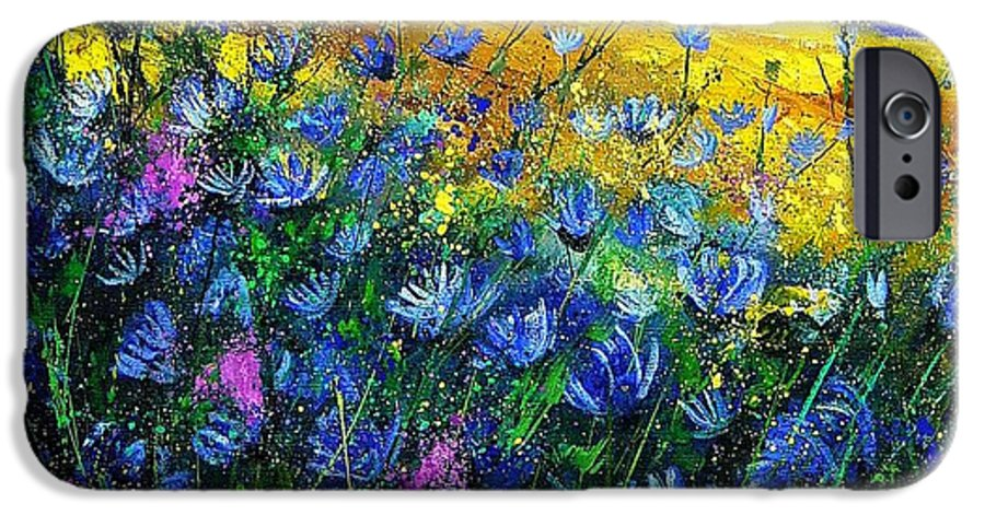 Flowers IPhone 6 Case featuring the painting Blue Wild Chicorees by Pol Ledent