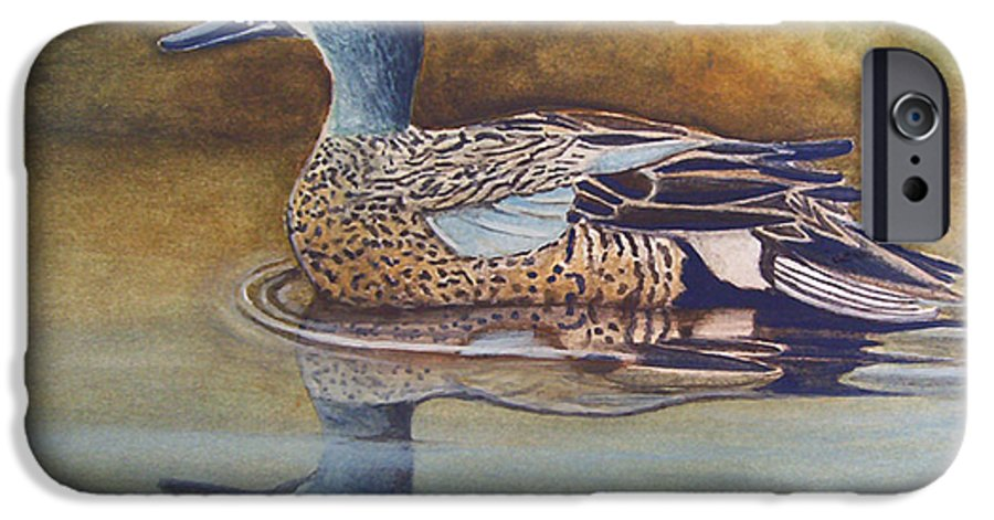 Rick Huotari IPhone 6 Case featuring the painting Blue Winged Teal by Rick Huotari
