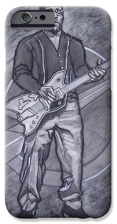 Texas;charcoal;king Of Rock;rock And Roll;music;1950s;blues;musician;funk;electric Guitar;marble;soul IPhone 6 Case featuring the drawing Bo Diddley - Have Guitar Will Travel by Sean Connolly