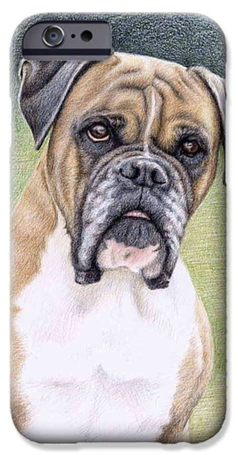 Dog IPhone 6 Case featuring the drawing Boxer Portrait by Nicole Zeug